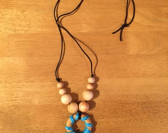 Organic wooden teething necklace