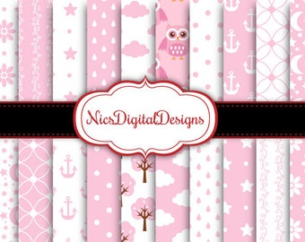 Buy 2 Get 1 Free-20 Digital Papers. Patterns in Pink for a Baby Girl (13B no 2) for Personal Use and Small Commercial Use Scrapbooking