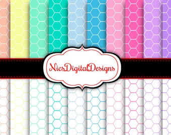 Buy 2 Get 1 Free-20 Digital Papers. Hexagons in Pastel Colours (17C no 2) for Personal Use and Small Commercial Use Scrapbooking