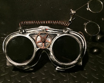 Steampunk Goggles With Eye Loupes, Apocalypse Mad Professor Retro Cosplay Welding Goggles With Burning Man & Mad Max Style Suit Fancy Dress