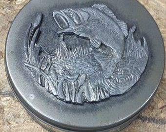 Vintage Tin with Pewter Fish