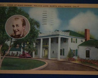 Vintage:  1951 BING CROSBY'S HOME Linen Post Card with cancelled Postmark and stamp