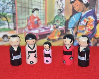 Peg dolls - Japanese - Japan People - toys in wood-children of the world-world family