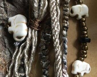 Taupe Brown Wrap Bracelet, Wildlife Fundraiser, Elephant Jewelry, Lucky Charm, Elephant Bracelet, Boho Wrap, Mother Jewelry, Friend Jewelry