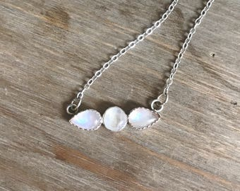 Moonstone Choker Necklace // Moonstone Triplet Necklace // Sterling Silver necklace // Everyday Jewelry