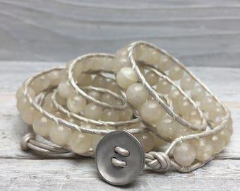 Faceted Moonstone Wrap Bracelet