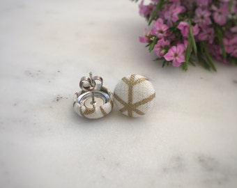 Gold Geometric Earrings. Cream and Gold. Handmade Earrings. Fabric Covered Button Earrings. Stud Earrings. Clip On Earrings.