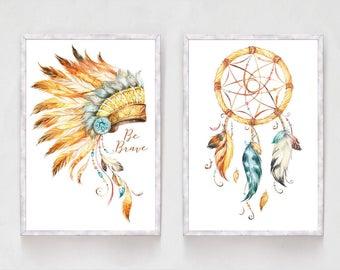 Set of 2 Chief Indian Headdress Print Dream Catcher Print Tribal Print Tribal Decor Native American Nursery Decor Boys Bedroom Nursery Print