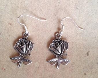 Rose earrings silver