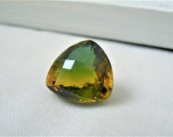 Faceted Trillion cut bicolor Quartz - P248 Gemstone green yellow