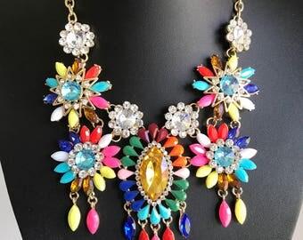 Beautiful multicoloured bright statement necklace