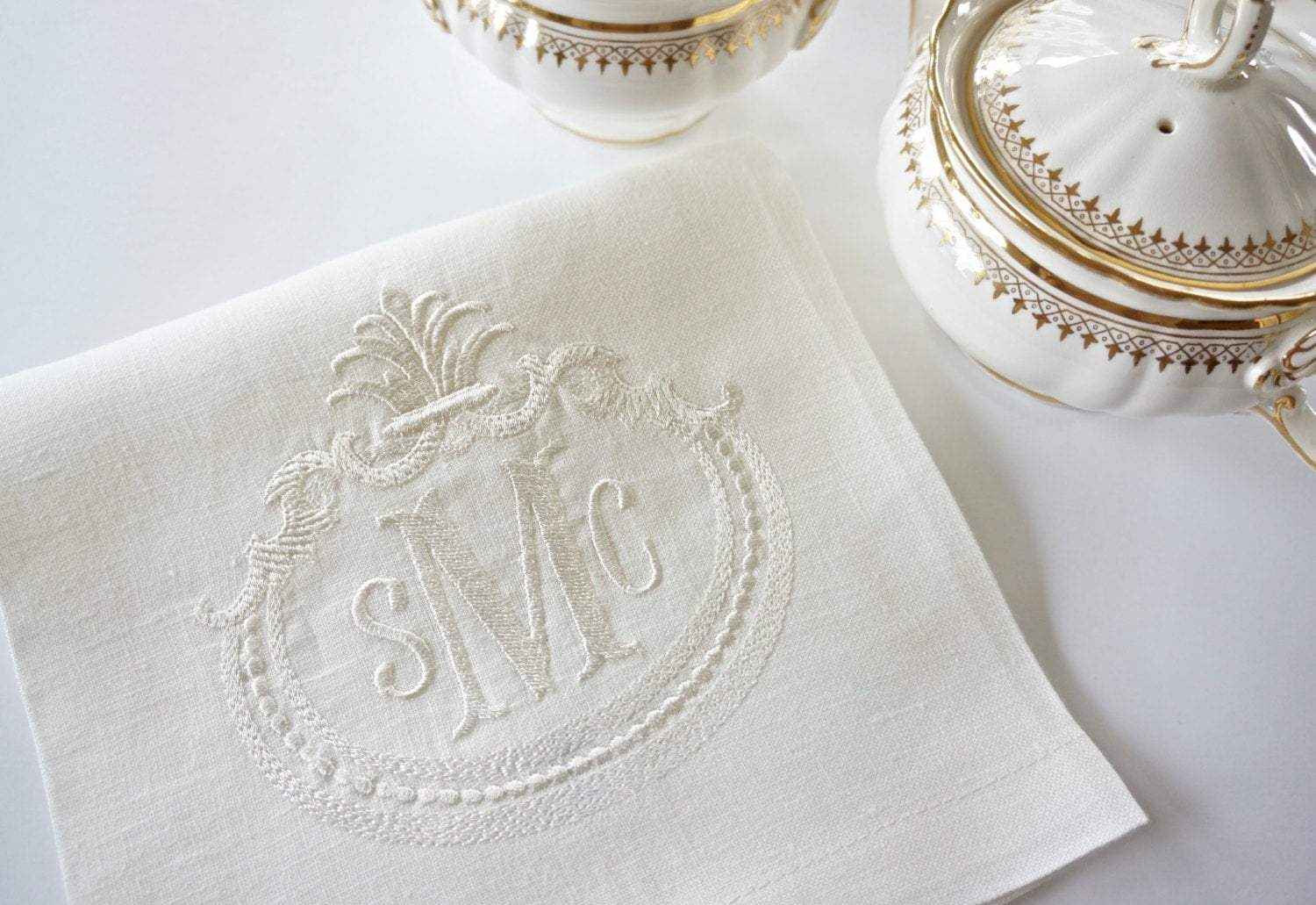 French Antique Frame With Monogram Embroidered Dinner