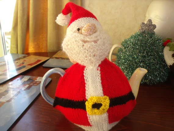 Hand knitted Father Christmas tea cosy to fit a 6 cup tea pot