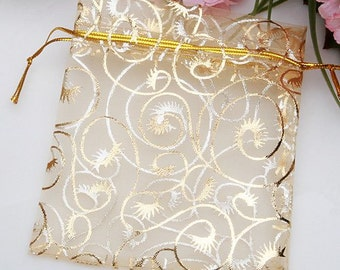 """100pcs Champagne Gold Organza Drawstring Pouches Jewelry Party Wedding Favor Gift Bags 3.5""""x4.3"""" decorative table topper"""