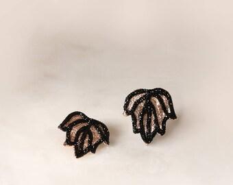 Mini Tulip Earring ,Rose Gold, Electroformed