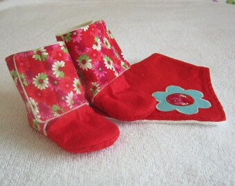 Stay-On Baby and Toddler Bootie Slippers (Red Flowers Print)