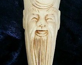 Antique Chinese Carved Yak Bone Pendant of Wise Old Man with Beard - c1880