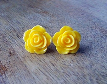 Yellow Flower Stud Earrings, Hypoallergenic, Flower Earrings, Flower Stud Earrings, Yellow Flower Earrings, Gifts for Teens, Post Earring