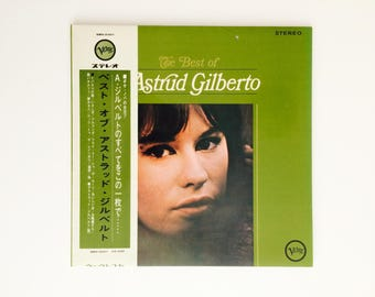 Vintage 1960s Vinyl Record Album • Best of Astrud Gilberto Brazilian Portuguese, Samba Jazz Bossa Nova, Girl from Ipanema • Chartreuse Green