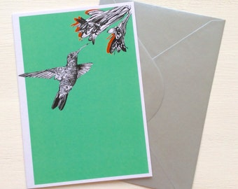 Hummingbird and Flower Greeting Card - Blank