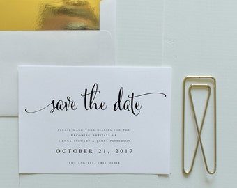 Save The Date-Instant Download-Printable-Editable PDF-DIY Save the Date Template-Digital Calligraphy-Printable Save the Date-#SN004_STD
