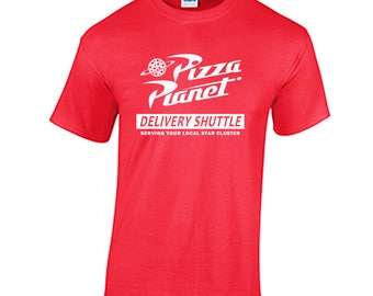 Pizza Planet delivery shuttle tee shirt fan Toy Story 1 2 3 4  Sheriff Woody  Buzz Lightyear Pixar Animation Studios  Andy's Disney shirt