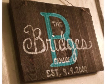 Family name wooden door hanger