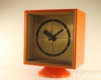 Fabulous 60s/70s orange wooden electrical clock