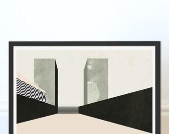 Cityscape Print. Abstract Print. Wall Decor