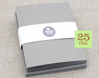 Blank Cards with Envelope, Gray Notecards, Set of 25, Size A2, 4.25 x 5.5, Folded Blank Notecard, Recycled Paper, Blank Envelopes