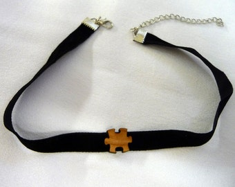 CHOKER – black velvet -  the trend of the season! Puzzle piece/s, funky unique, lightweight jewellery. Great birthday or xmas present.