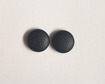 20mm Fabric Studs • Black • Leatherette • Surgical Steel • Button studs • Button earrings • Fabric Earrings