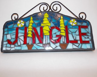 Jingle Jingle Jingle All the Grinchy Way is a Piece of Stained Glass Mosaic Wall Art for the Holidays