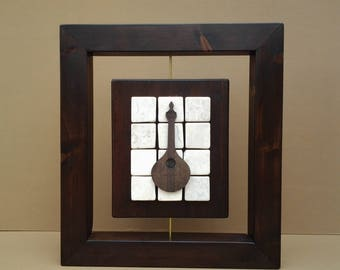 Wall art wood and stone portuguese guitar