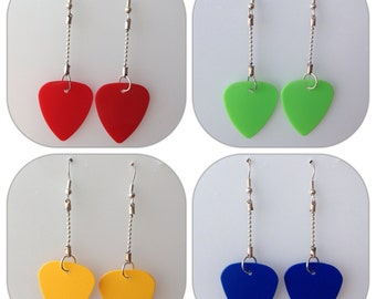 Coloured Guitar Pick Earrings