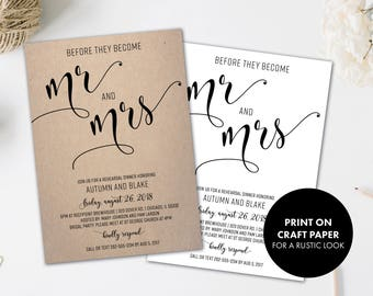 Rehearsal Dinner Invitations | Rehearsal Invitation | Black and White | Wedding Rehearsal | Rehearsal Invites | Before They Become Mr & Mrs