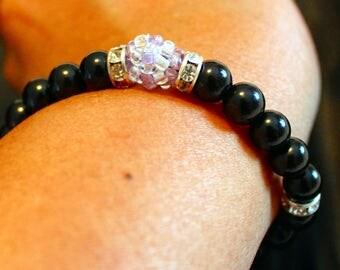 Beautiful dark Agate & glass-beaded shamballa bracelet; beadweaving, handmade, black, party wear, casual wear