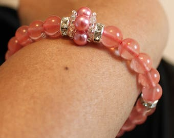 Beautiful Watermelon-colored Tourmaline-beaded bracelet; shamballa, handmade, beadweaving, cute, casual-wear, party-wear