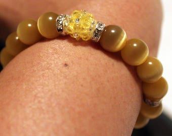 Beautiful yellow-beaded shamballa bracelet with tassels; beadweaving, handmade, cute, casual wear,party wear