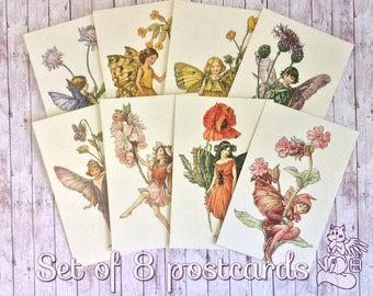 Set of 8 postcards with lovely Flower Fairies - Beautiful classic paintings by Cicely Mary Barker - Magical cards for postcrossing
