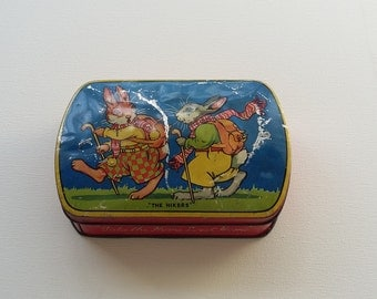 Vintage Blue Bird Toffee Tin 'The Hikers' Harry Vincent Ltd Hunnington Worcestershire England 1950's