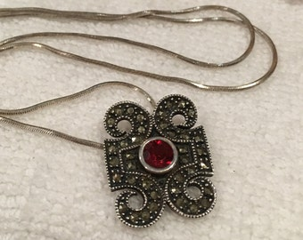 Exquisite Vintage Sterling Silver JUDITH JACK-GARNET and Marcasite Pendant-On a 46cm (18 inch) Italian Made Sterling Silver Snake Box Chain