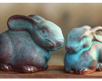Sweet Turquoise Bunnies Handmade Celadon Ceramic Figurines from Thailand (Pair of 2)