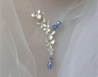Wedding Jewelry Set,  Bride Necklace, Wedding Necklace, Bridal earrings, Something Blue, Cascading Orchid Necklace, Bridesmaid Necklace Gift