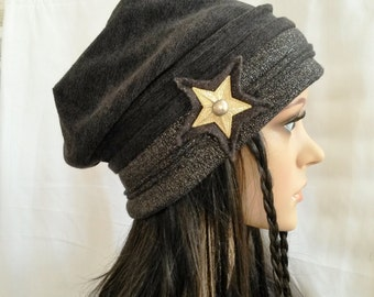 "Cap """" Star"""" mesh knit Matt and gloss colours black/anthracite"
