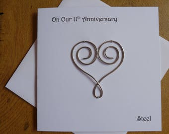 11th wedding anniversary card steel eleven years marriage