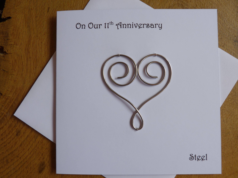 11 Wedding Anniversary Gift Ideas: 11th Wedding Anniversary Card Steel Eleven Years Marriage