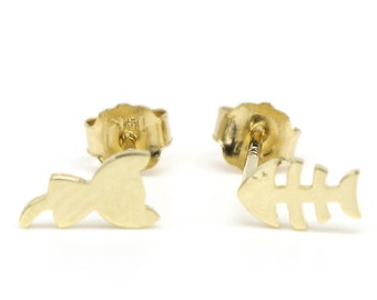 14k Solid Yellow Gold Stud Earrings 7779 Charming Cat&Fish Design Lovely