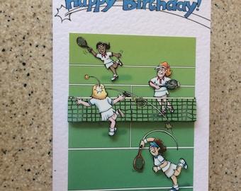 "Handmade Happy Birthday card 3D decoupage humourous female tennis player 7"" x 5"" comical amusing funny"