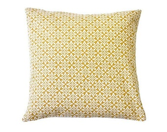 Nila Handscreen Printed Cushion Cover - Golden Yellow 40x40cm